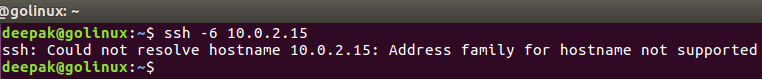 ssh command to use only IPv6 address
