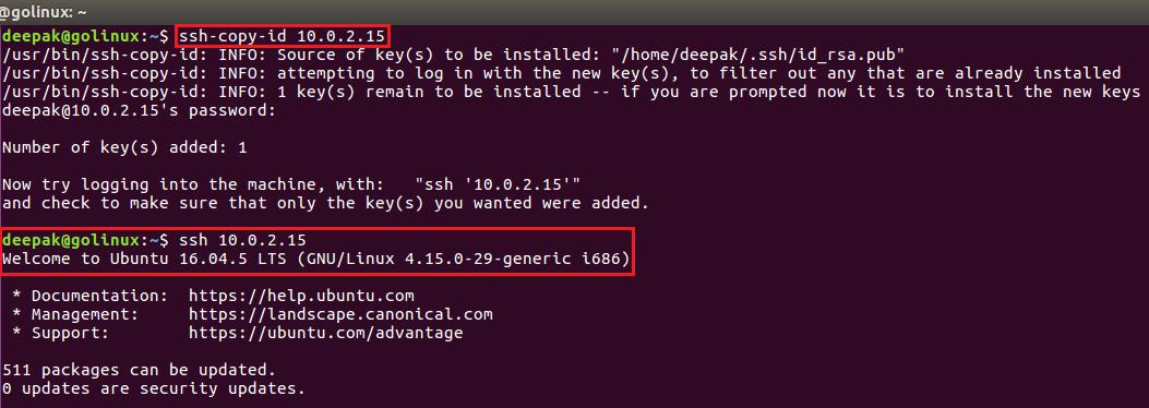ssh command to copy public ssh key to a server