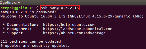 ssh command to login with different user in ssh connection
