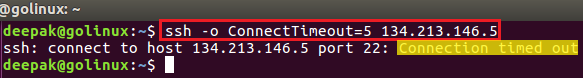 ssh command to set the connection timeout