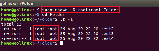 chown command to change ownership of a file recursively