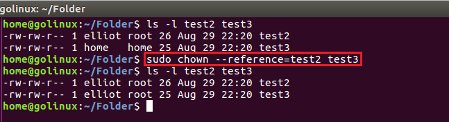chown command to copy names settings from one file to another