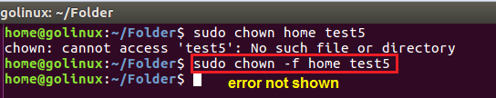 chown command to hide error message in the output