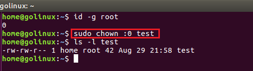 chown command to change group using group id