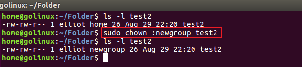 chown command to change group of a file