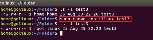chown command to change owner and group at the same time