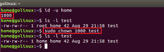chown command to change owner owner using user id