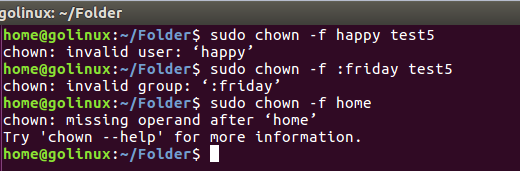 chown command error message not hide in the output