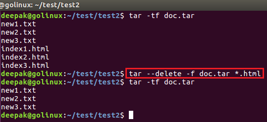 tar command to delete files from the archive