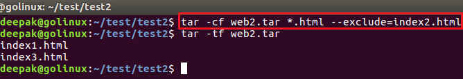 tar command to exclude files when creating the archive