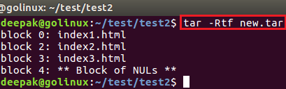 tar command to show block number within the archive
