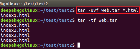 tar command to append only new files in archive