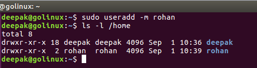 useradd command to add new user and user home directory