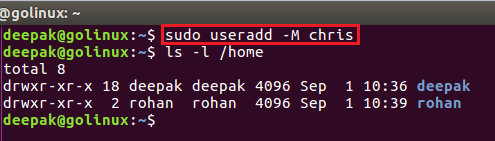 useradd command to create a new user without directory
