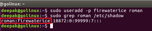 useradd command to specify unencrypted password for a new user