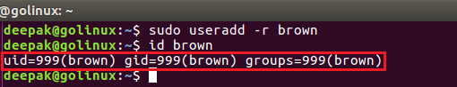 useradd command to create a new system user