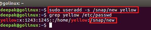 useradd command to create a new user with login shell