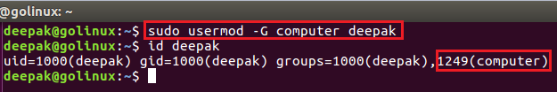 usermod command to assign secondary group to a user