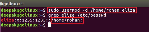 usermod command to change home directory of a user
