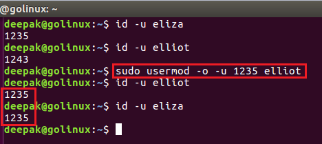 usermod command to set duplicate user id of user