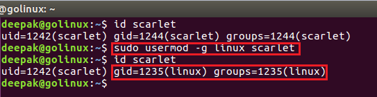 usermod command to change the primry group of a user