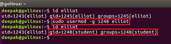 usermod command to change group using group id