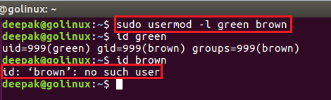 usermod command to change the user name