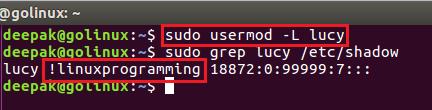 usermod command to lock a user account