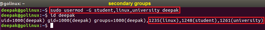 usermod command to assign multiple secondary groups to user