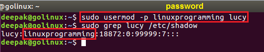usermod command to modify an unencrypted password for user