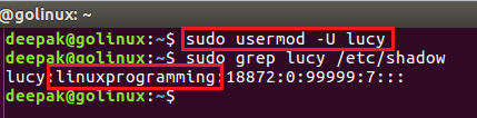 usermod command to unlock a user account
